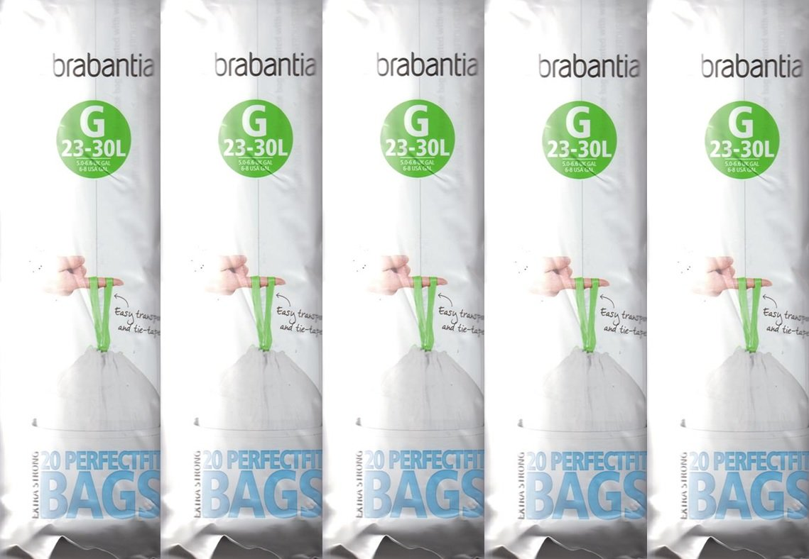 5 x Brabantia Pack Of 20 Extra Strong Perfect Fit G Size 23-30L Waste Bin Liners Brabanita