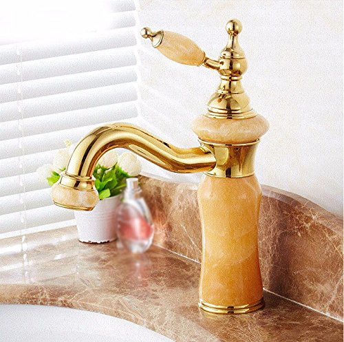 AWXJX Washbasin Hot And Cold Jade Single Hole Single Handle Bathroom Blender Rotate Copper Sink Taps by AWXJX Sink faucet