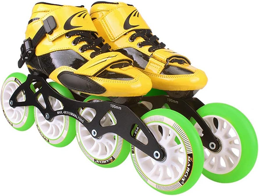 NUBAOgy インラインスケート、直径90-110 Mmの高弾性PUホイール、調整可能なインラインスケート、4色 (色 : 緑, サイズ さいず : 39) 緑