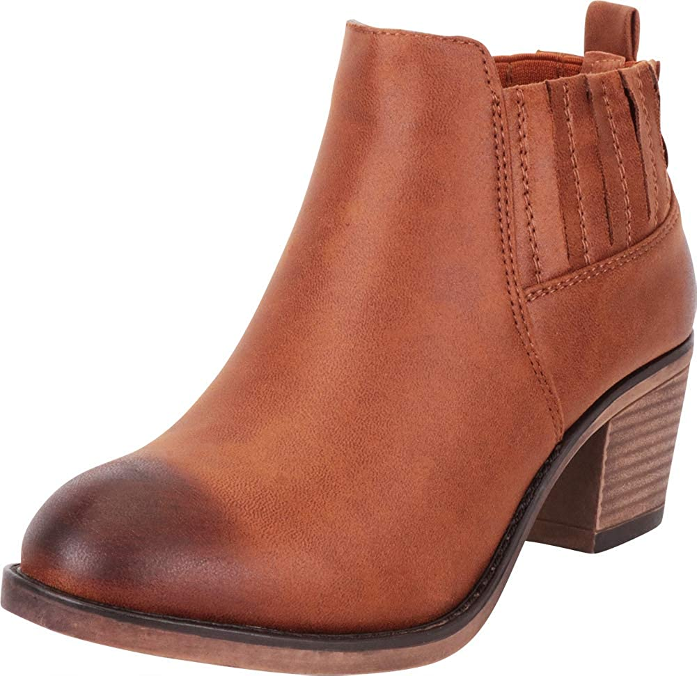 Tan Pu Cambridge Select Women's Western Distressed Stretch Chunky Stacked Heel Ankle Bootie