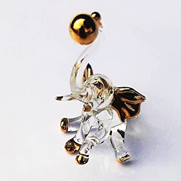 New Figurine Collectible Home Decor Gold Color Art Blown Glass Handcraft Miniature Elephant Sculpture 4
