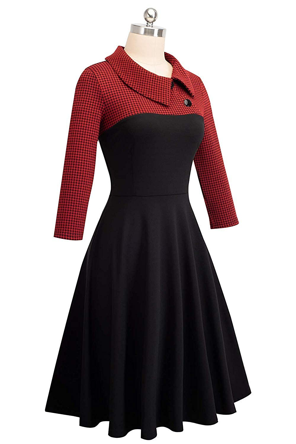 Damen Vintage Kleid Dress Colorblock Revers Houndstooth Patchwork Swing Elegant Business Kleid