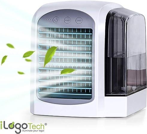 iLogoTech Actualizado 3-en-1 Mini Aire Acondicionado Portátil - Climatizador Portatil Frio, Air Cooler Silencioso, Humidificador, Purificador para Hogar, Oficina, Dormitorio, Exterior (3 Velocidades): Amazon.es: Hogar