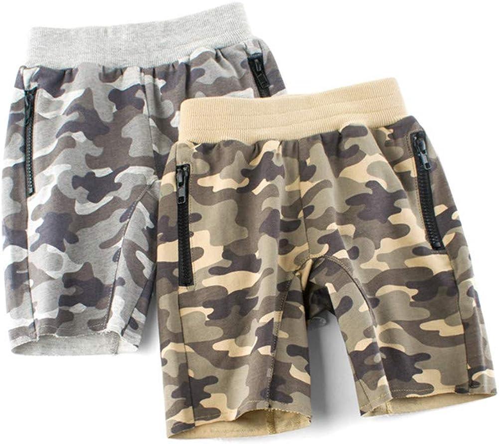 Mud Kingdom Little Boys Camo Shorts Elastic Waist Gray Cute Summer