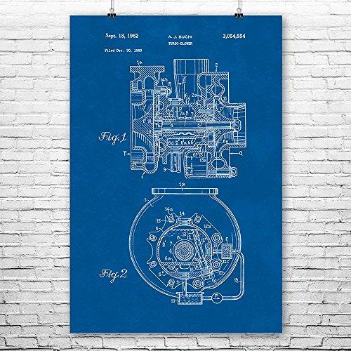 - Buchi Turbocharger Poster Print, Racing Gift, Turbo Engine, Auto Mechanic, Automotive Engineer, Muscle Car, Repair Shop Blueprint (16