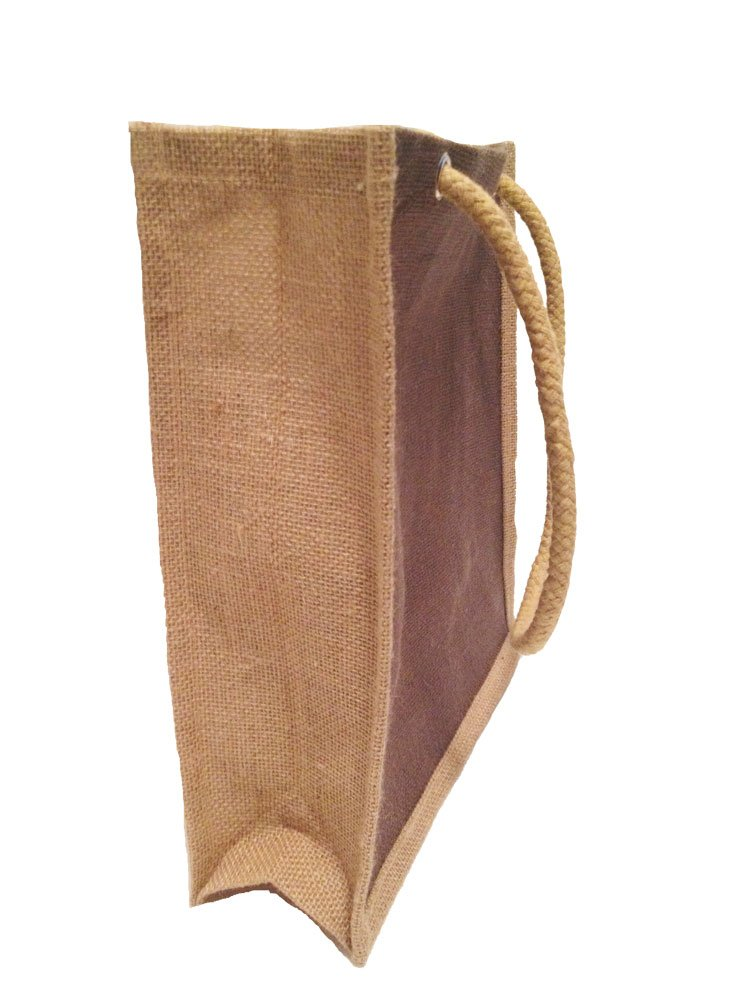 Pack of 12- Eco friendly Reusable Jute/burlap Medium Holidays Gift tote Bags size 11.5''W x 12''H x 4'' Gusset with Long rope handles Color Brown and Natural bulk bags Eco-friendly Reusable Bag - Clearance Sale