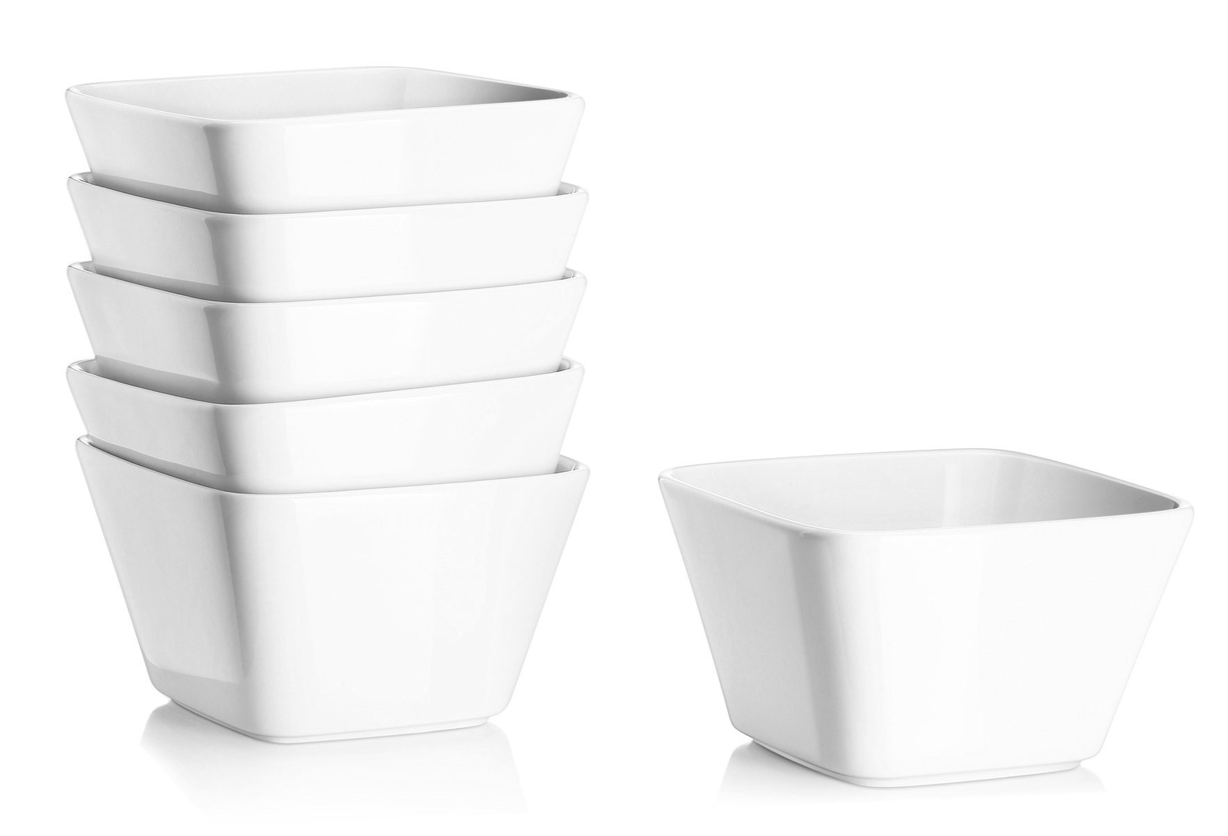DOWAN 20 Ounce Porcelain Square Cereal Bowls - 6 Packs ,White by DOWAN (Image #2)