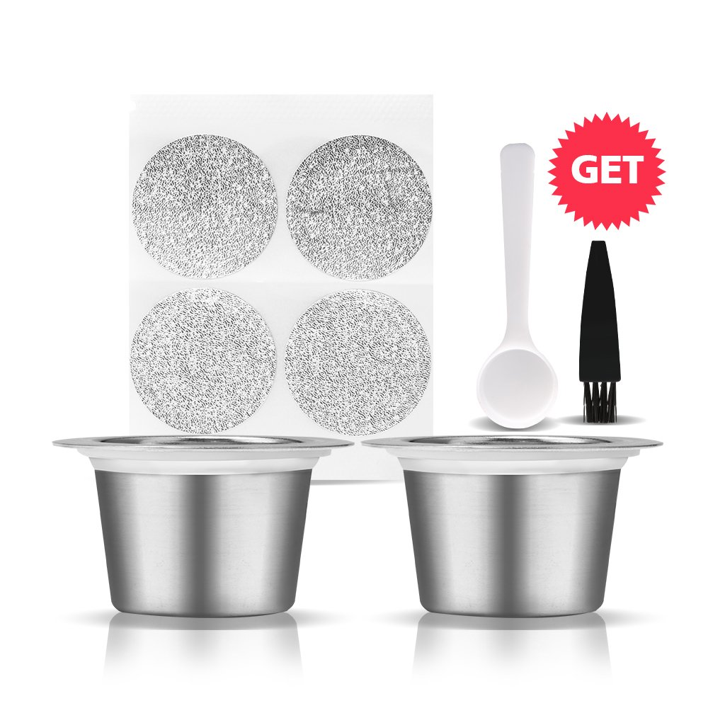 BRBHOM Stainless Steel Reusable Capsules Refillable Coffee Capsules Pods 2pcs Compatible for Nespresso Machines by BRBHOM
