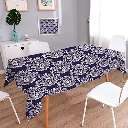 (PINAFORE HOME Natural Tablecloth Seamless damassé florale Motif en bleu Multi Colors & Sizes/W23 x L23 Inch)