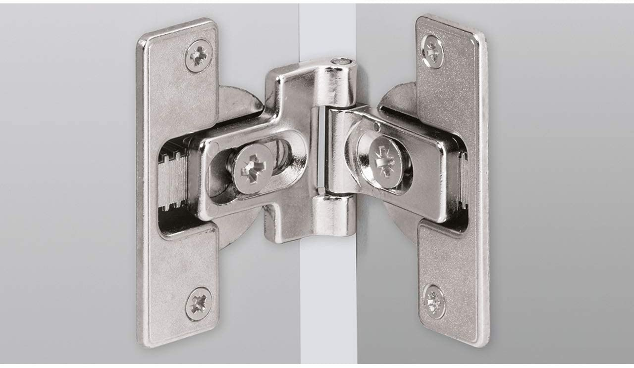 Hettich HFT–Puerta plegable bisagras para tornillos 180grados, niquelados con cinc fundido, 46787