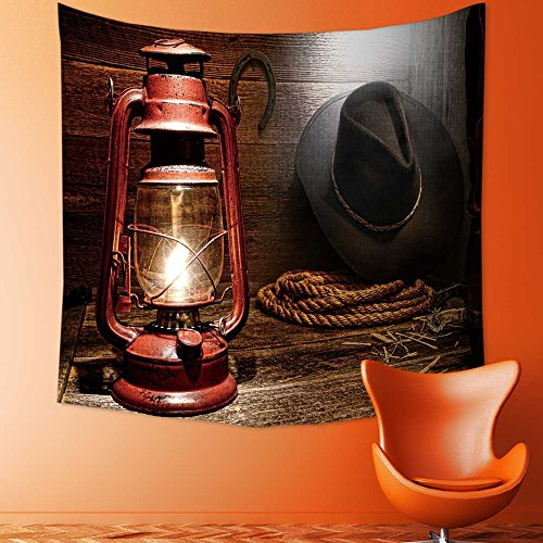 Custom Tapestry Wall Tapestry Wall Hanging Tapestries Vintage kerosene lantern lamp with American West rodeo cowboy gear of Tapestry Wall Blanket Wall Decor Wall Art Home Decor 82.7 x L59.1 inches (Dorm Lamp Cowboys)