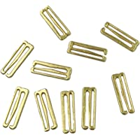 Haoqiu 9g142 Bra Hooks,0.55in(14mm),20 pcs, Golden Metal Sliding Hook for Swimsuit Tops and Underwear Replacement Bra…