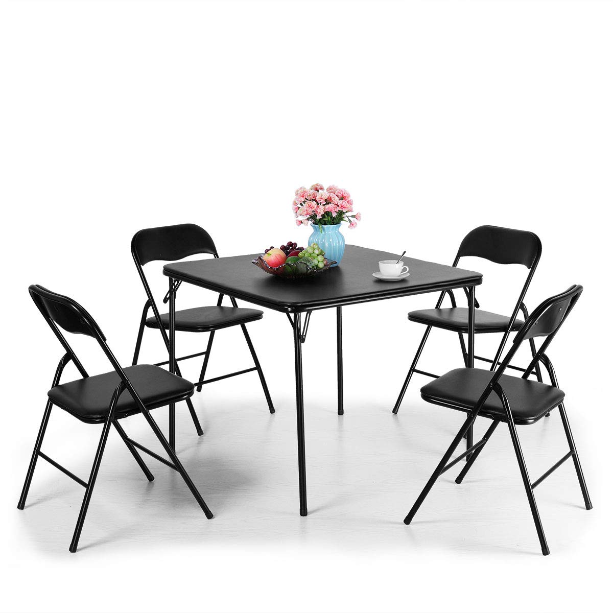JAXPETY 5-Piece Folding Table and Chairs Set Multipurpose Kitchen Dining Games Table Set 1 Table 4 Chairs w/Padded Seat, Black