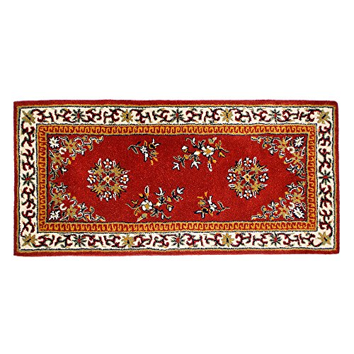 Oriental Virgin Wool Hearth Rug - Minuteman International Burgundy Oriental Wool Hearth Rug, Rectangular