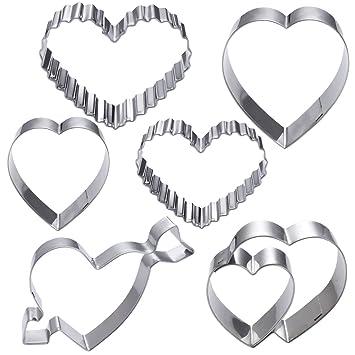 OUNONA 6 piezas cortadores de galletas corazón de acero inoxidable - Antiadherente resistente al calor en
