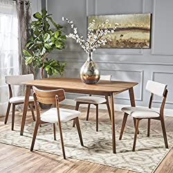 Aman Mid Century Natural Walnut Finished 5 Piece Wood Dining Set with Light Beige Fabric Chairs