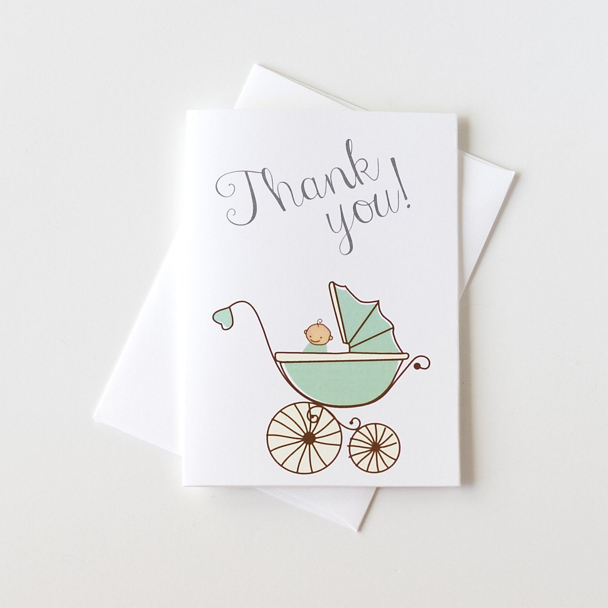 12 ct Baby Shower Thank You Cards, Gender Neutral Shower Thank You Cards, Baby Carriage Cards (Baby7)
