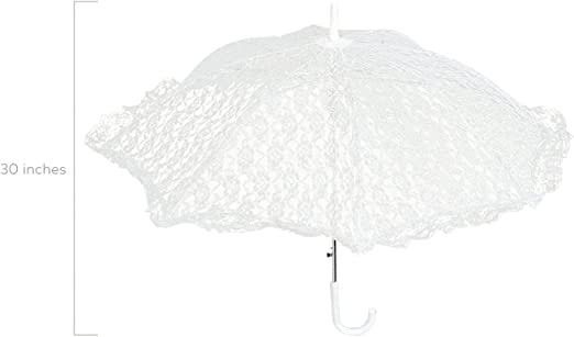 Yosooo Lace Wedding Umbrella Lace Embroidery Umbrella Bridal Party Craft Flowers Decoration Props Accessory for Wedding Party Celebration 51241 Light White