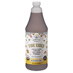 Fire Cider, Tonic, 32 oz, Wildflower Honey flavor, 64 Daily Shots, Apple Cider Vinegar, Whole, Raw, Organic, Not Heat Processed, Not Pasteurized, Not Diluted, Paleo, Keto, Whole 30.