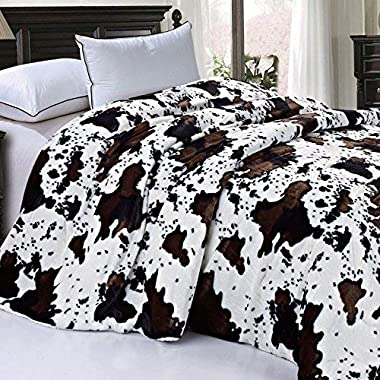 BOON Soft and Thick Faux Fur Sherpa Backing Bed Blanket, Cows Flower, 84  x 92