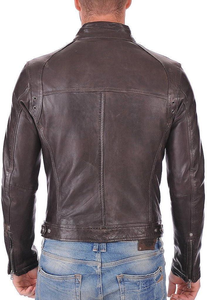 Men Leather Lambskin Motorcycle Bomber Party Jacket KL769