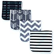 "Burp Cloths for Babies, Grey Wave Black Stripes Arrows Set, 20"" by 10"", 3 Layers, Cotton and Absorbent Fleece, 4 Pack"
