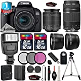 Canon EOS Rebel 800D / T7i DSLR Camera + Canon 18-55mm IS STM Lens + Canon 75-300mm Lens + Flash + 0.43X Wide Angle Lens + 2.2x Telephoto Lens + 16GB Class 10 - International Version