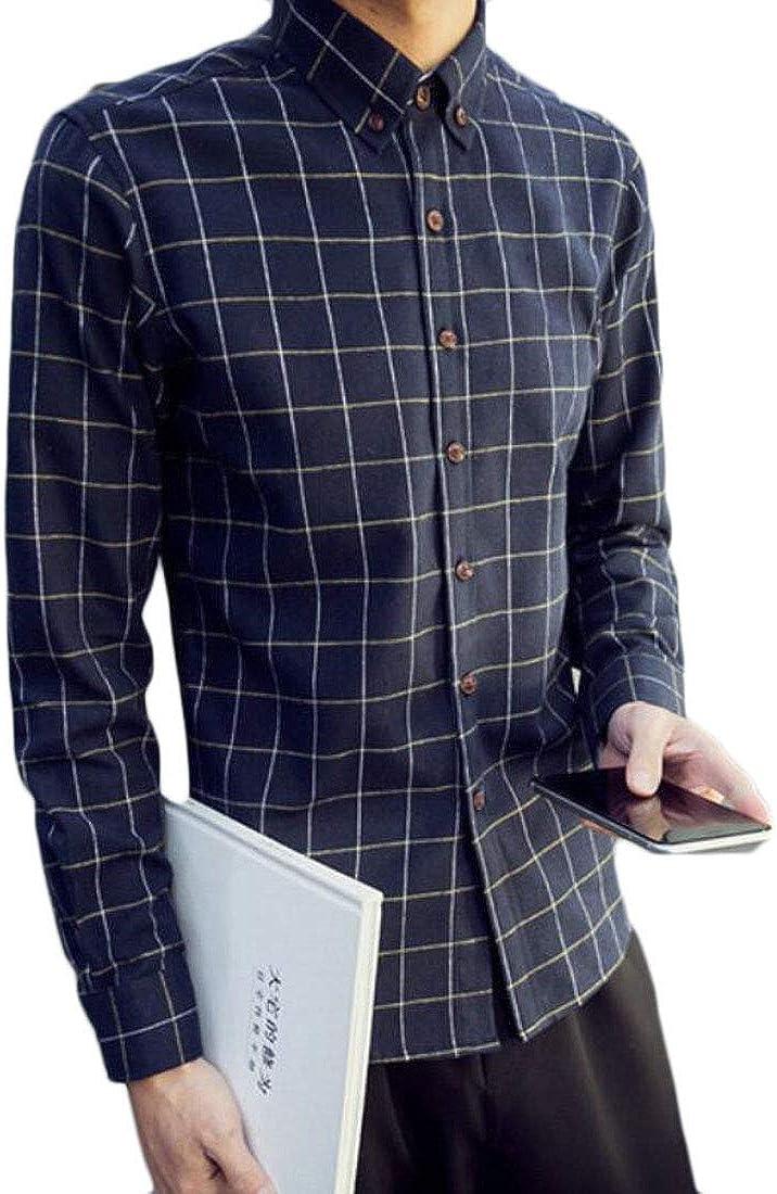 Zantt Mens Buttons Plaid Check Long Sleeve Casual Formal Dress Shirts