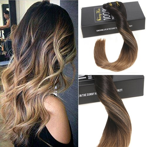 Sunny 18inch Clip in Hair Extensions Human Hair Balayage Natural Black Ombre Brown Clip in Hair Extensions Real Human Hair 7pcs 120G Double Weft Clip On