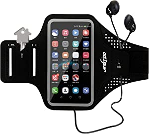 JINGTOO Waterproof Armband for Phone Running Workout Arm Phone Pouch for iPhone 11 Pro Max Xr Xs Max 10 8 7 Plus Samsung Galaxy S10 Plus S20 S9 S8 S7 Note and More, Arm Band with Card & Keys Holder