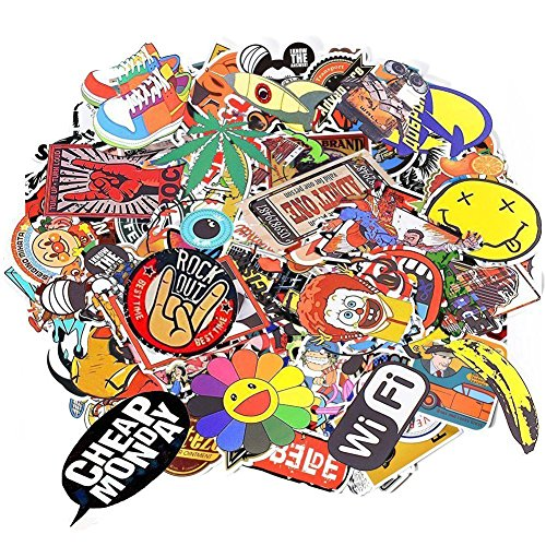 Aikuer 150pcs laptop stickers car stickers skateboard luggage bike motorcycle bumper stickers graffiti decals vinyls cool fashion unique random mix pack