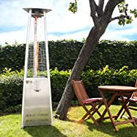 """Lava Heat Italia 56,000 BTU Outdoor Patio Propane Tank Gas Heater with Specially Designed Borosilicate Shatter-Resistant Glass Tube, with """"Easy Start"""" Electrical Ignition, Adjustable Flame and Heat Control, Safety Tip-Over Switch, Wheel Kit & Universal Infra-Red Remote Included, Stainless Steel Finish"""
