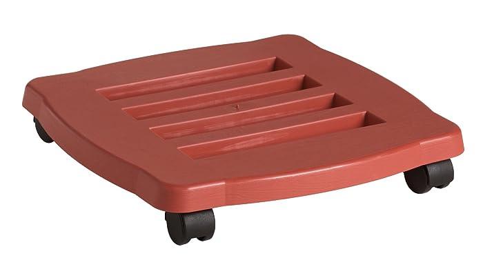 Fiskars 95125C 15-Inch Square Planter Caddy, terracotta color