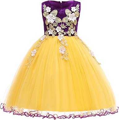 YELLOW Girl Dress Decorated Flower Petals Birthday Bridesmaid Wedding Dance Prom