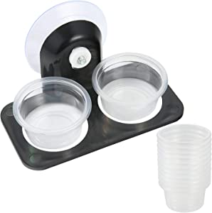 SLSON Gecko Feeder Ledge Acrylic Improved Suction Cup Reptile Feeder with 20 Pack 1 oz Plastic Bowls for Reptiles Food and Water Feeding,Black
