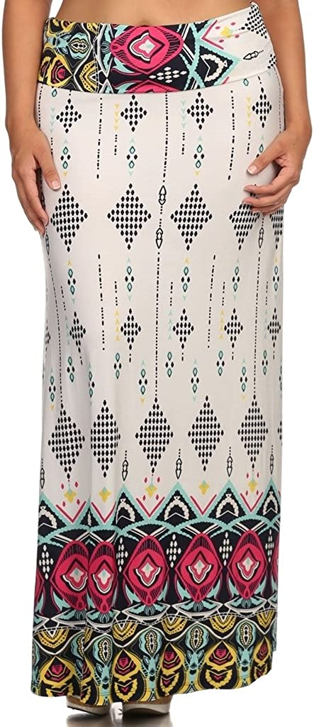 Printed Fold Over Waist Self Banded Maxi Skirt Plus Size Made in U.S.A