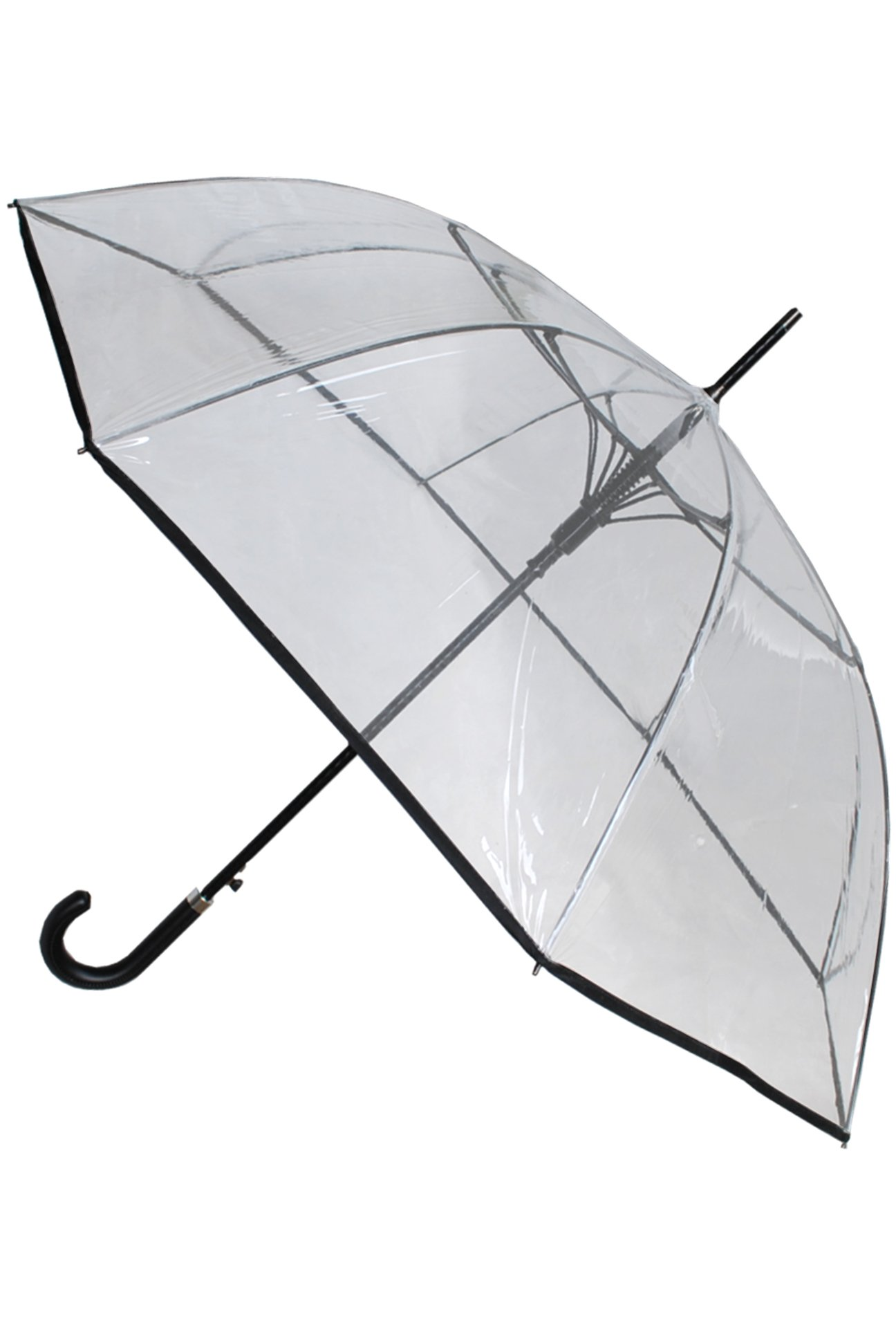 COLLAR AND CUFFS LONDON - Windproof 60MPH EXTRA STRONG - StormDefender Clear Canopy - 43in Diameter - Reinforced Fiberglass Frame Umbrella - Auto Open - Leather Style Hook Handle