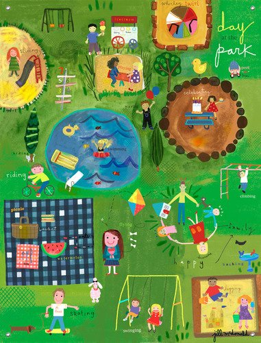32 by 42-Inch Oopsy Daisy A Day at The Park by Jill McDonald Canvas Wall Murals