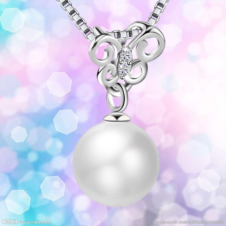 Anniversaire de Mariage Cadeaux pour Les Femmes Maman /épouse Amilril Perle deau douce Collier Papillon Collier Femme 925 Sterling Argent 5A Zircone Cubique Bijoux