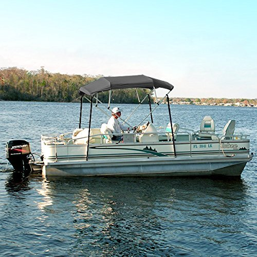 North East Harbor 4 Bow Boat Bimini Top Cover Gray with Rear Support Poles and Zippered Boot Fits 67-72 Width Beam V-Hull Fishing Ski Boat Runabout Pro Bass
