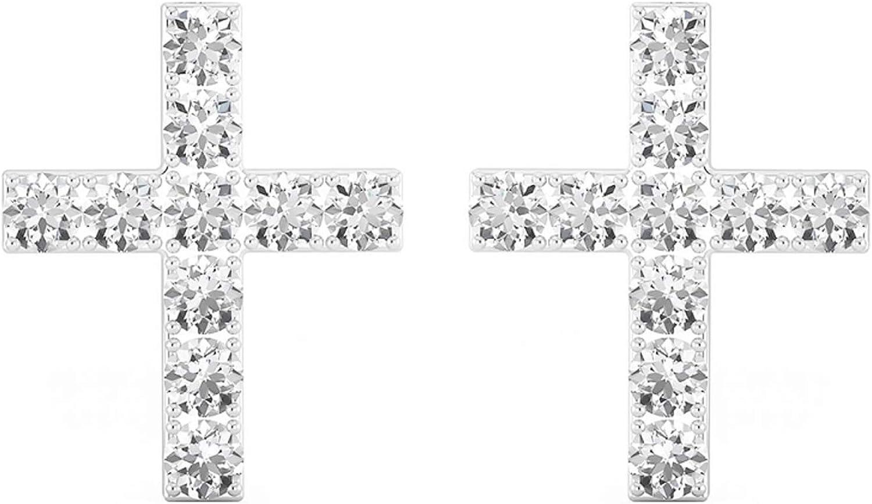 Mya Art Pendientes pequeños Cruz de Plata de ley 925rodiada con circonitas 10mm blanco Pendientes Mujer Infantil Pequeño myas iohr de 58