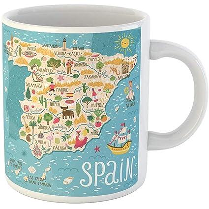 Map Of Spain Landmarks.Amazon Com Funny Coffee Cup Coffee Mug Red Map Of Spain Travel