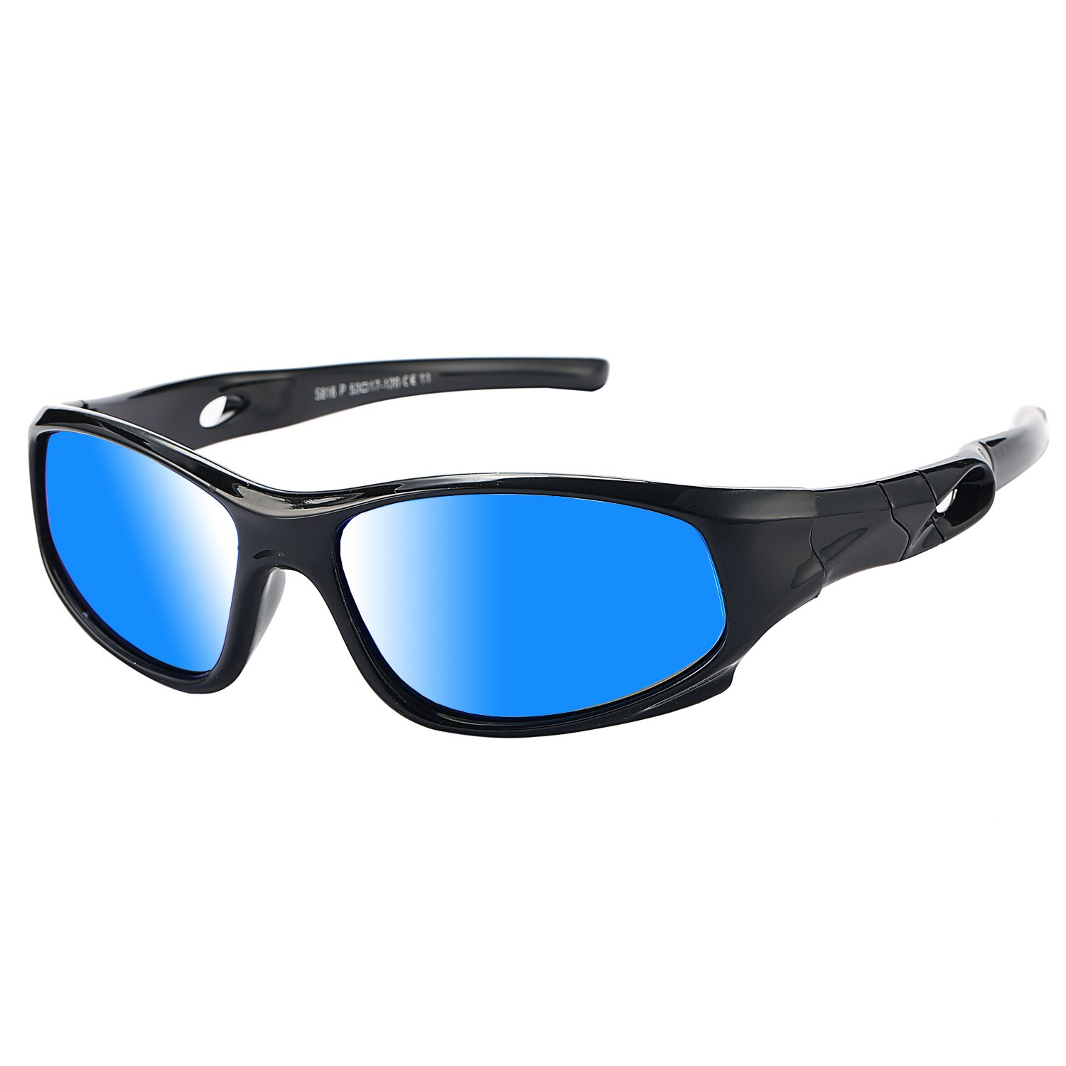 Pro Acme TR90 Unbreakable Polarized Sports Sunglasses for Kids Boys and Girls (Black/Blue Mirror)