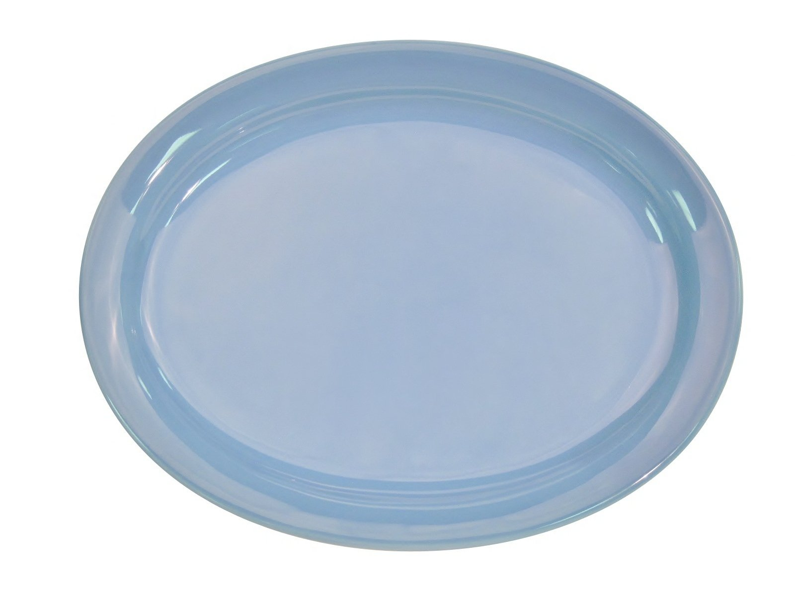 CAC China L-14NR-LB Las Vegas Narrow Rim 13-1/4-Inch by 10 1/8-Inch Light Blue Stoneware Oval Platter, Box of 12