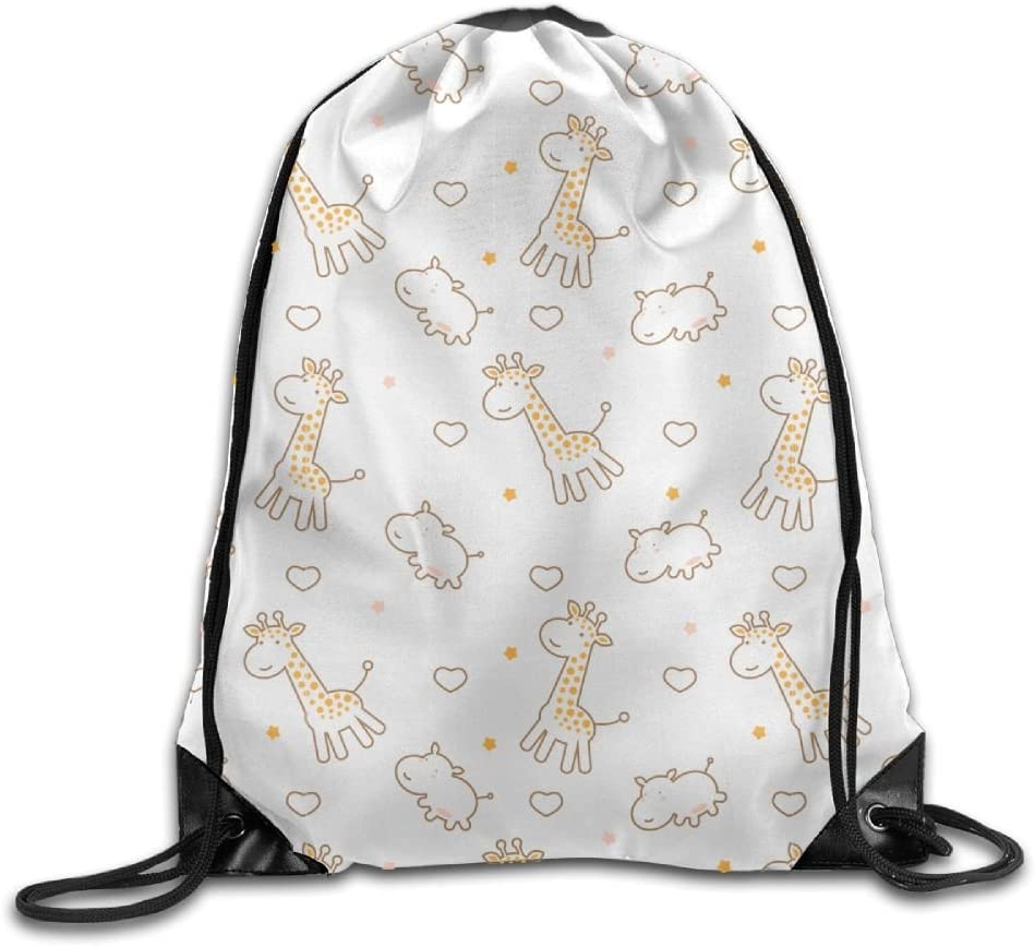 Drawstring Backpack Portable Travel Daypack Gym Bag Giraffe Hippo
