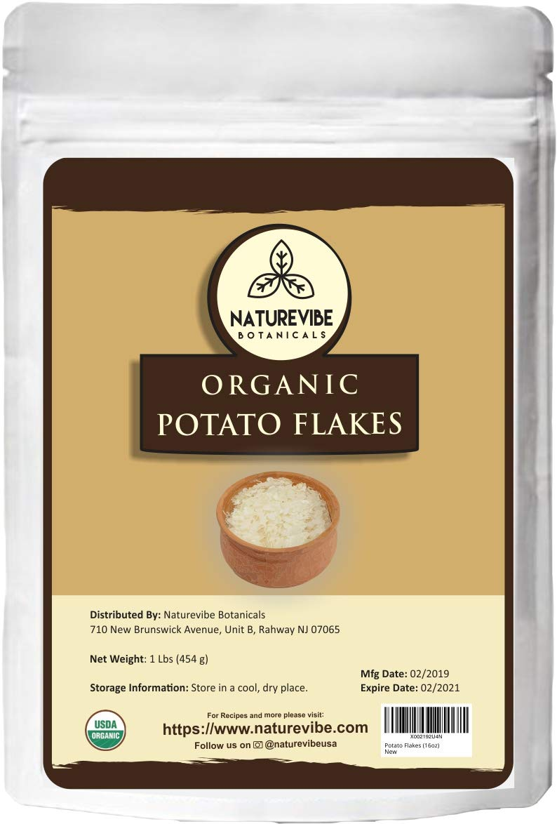 Naturevibe Botanicals Organic Potato Flakes 1lbs | Non-GMO and Gluten Free | Instant and convenient to cook