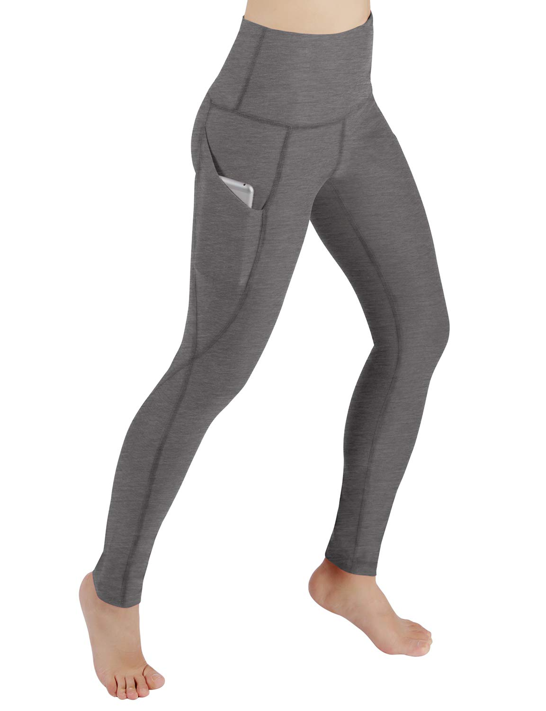 ODODOS High Waist Out Pocket Yoga Pants Tummy Control Workout Running 4 Way Stretch Yoga Leggings,Gray,X-Small