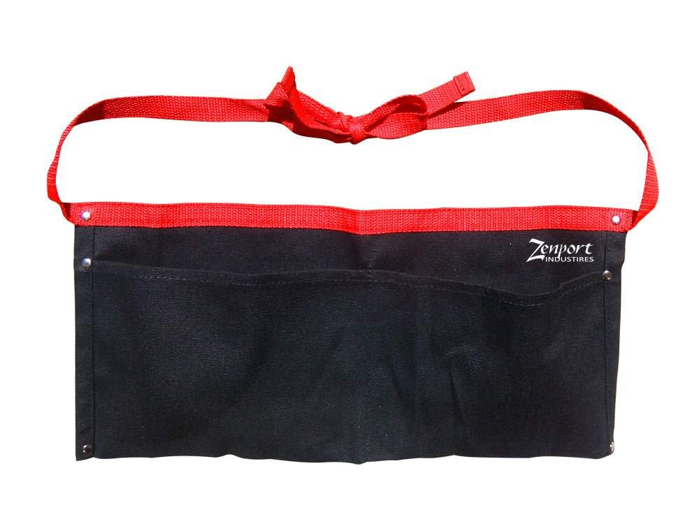Zenport AG4030 Heavy Duty Canvas Double Pocket Apron Pouch, Black, 17 by 8 1/4-Inch