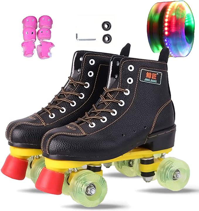 Comeon Roller Skates,Unisex Roller Skating High-top Four-Wheel Roller Skates Double Wheel Flash Inliner Skate