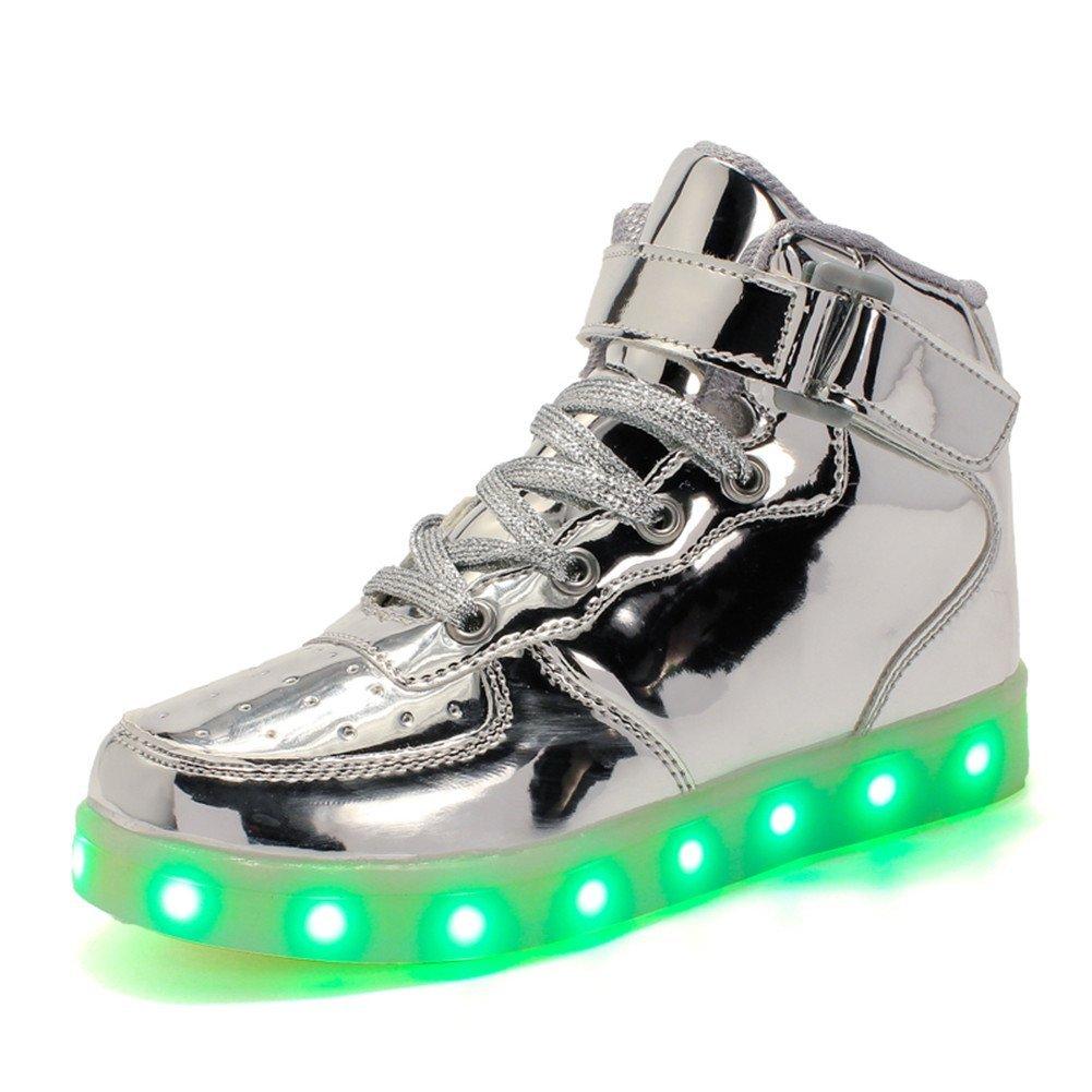 Licy Life-UK Unisex Bambino LED Scarpe High-Top Nuovo Stile USB Carica Lampeggiante Luminosi Sneakers Scarpe Sportivet per Un Regalo di Compleanno Regalo di Festa